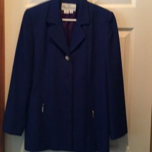 Blue blazer missing two buttons in front